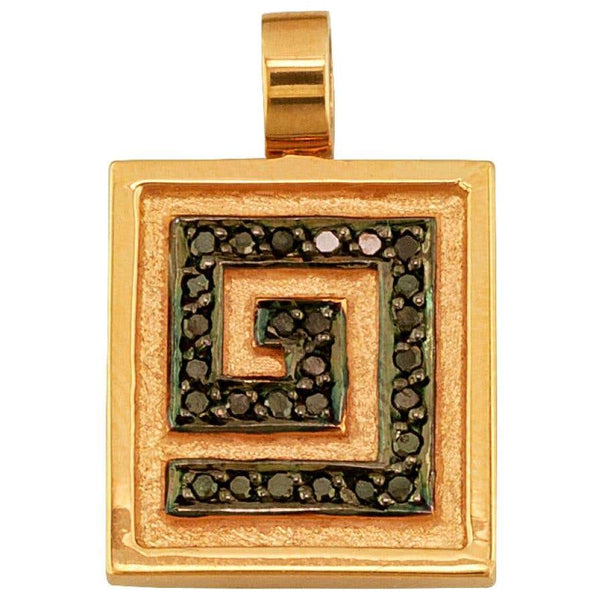 18 Karat Gold Black Diamond Pendant Drop Greek Key Enhancer