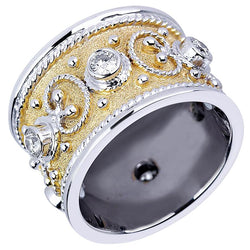 18 Karat White Gold Diamond Band Ring and Yellow Rhodium