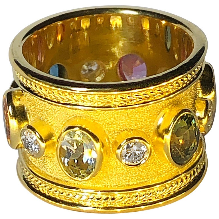 18 Karat Yellow Gold Diamond Multi Gemstone Band Ring