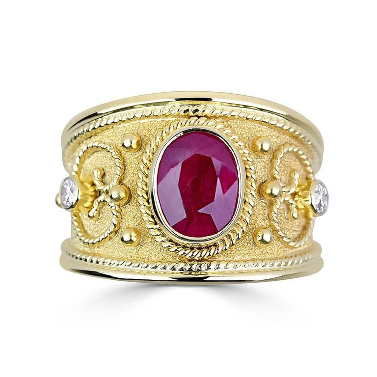 18 Karat Yellow Gold Byzantine Style Ruby and Diamond Ring