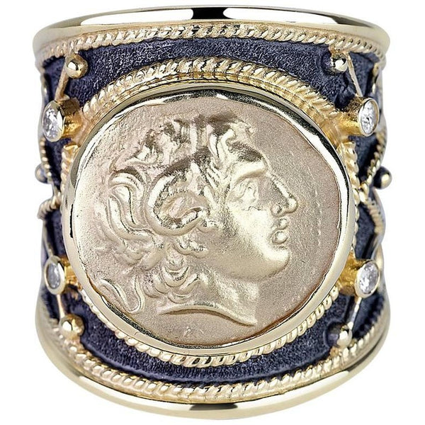 18 Karat Gold Diamond Ring with Alexander the Great Coin