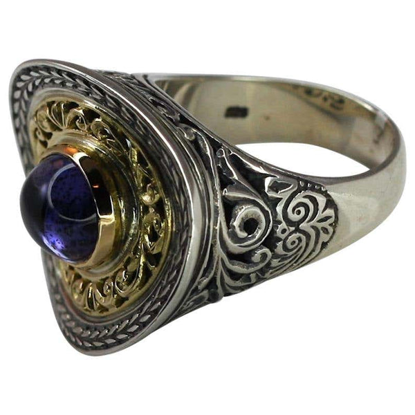 18 Karat Gold and Silver Ring with Amethyst