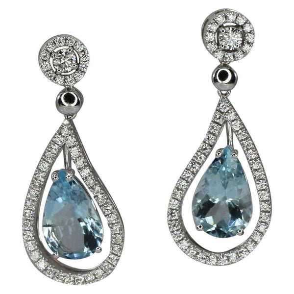 18 Karat White Gold Dangle Aquamarine And Diamond Earrings