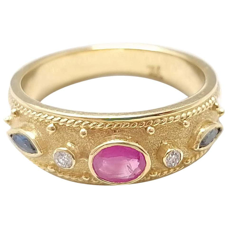 18 Karat Yellow Gold Ruby Sapphire and Diamond Band Ring