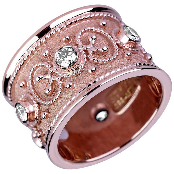 18 Karat Rose Gold Diamond Band Ring with Granulation Work