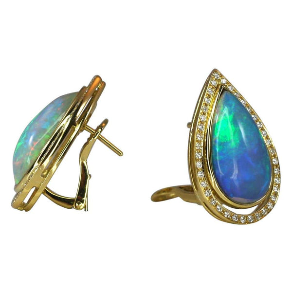 18 Karat Yellow Gold Pear Shape Opal and Diamond Earrings