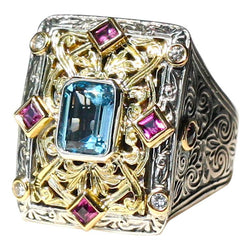 18 Karat Gold and Silver Ring with Tourmalines and Diamonds