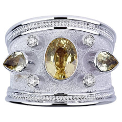 18 Karat White Gold Diamond Ring with Olive Green Sapphires