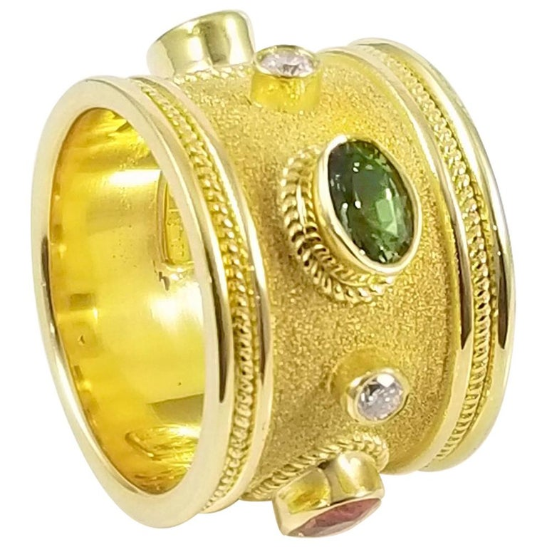 18 Karat Yellow Gold Diamond and Multi Sapphire Band Ring
