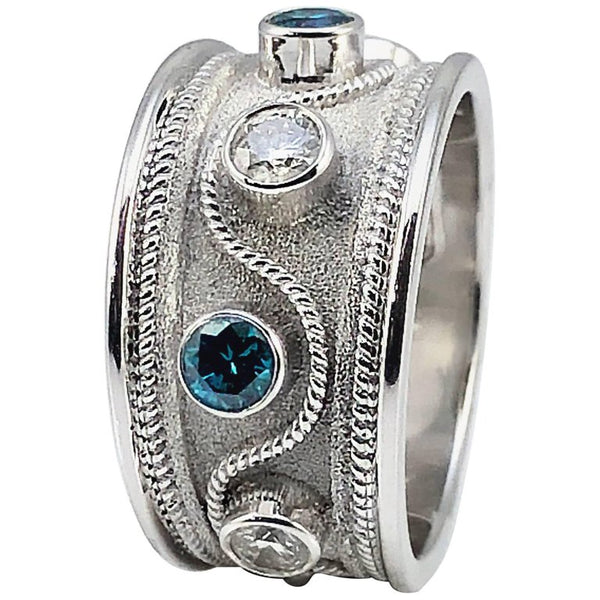 18 Karat White Gold Blue and White Diamond Band Ring