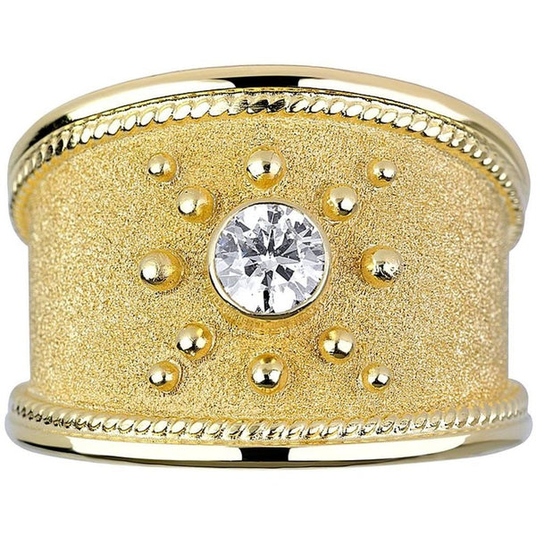 18 Karat Yellow Gold Diamond Byzantine Style Band Ring