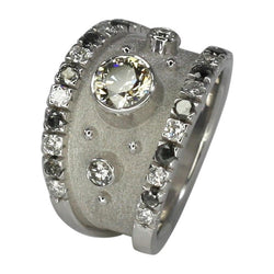 18 Karat White Gold Chocolate and White Diamond Ring