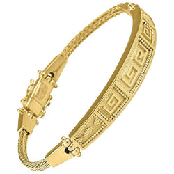 18 Karat Yellow Gold Greek Key Design Rope Bracelet