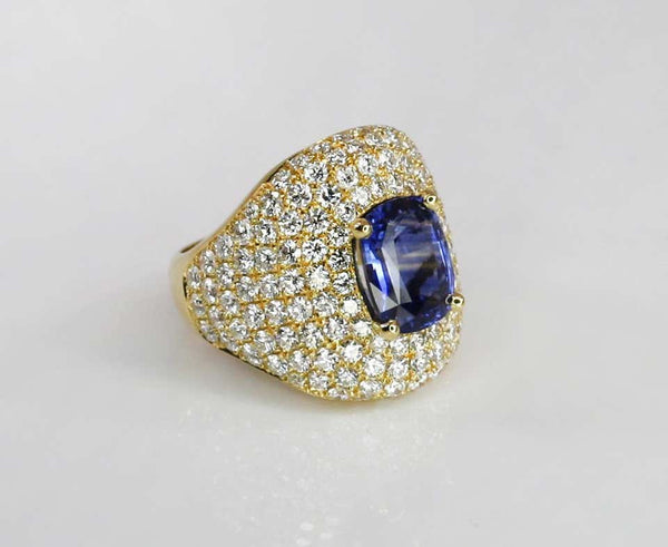 18 Karat Gold Diamond and Sapphire Wide Band Ring