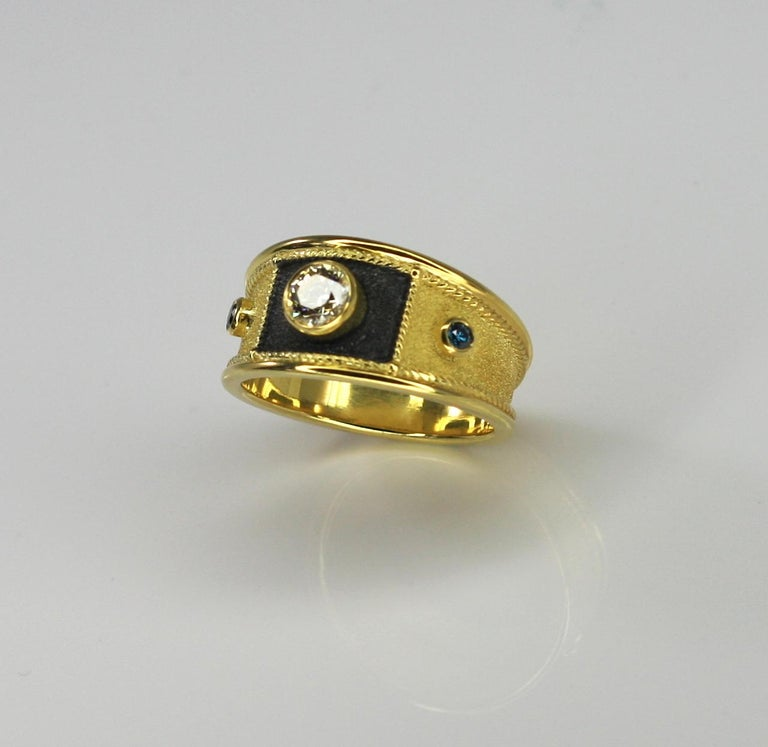0.44 Carat Diamond Yellow Gold and Black Rhodium Ring