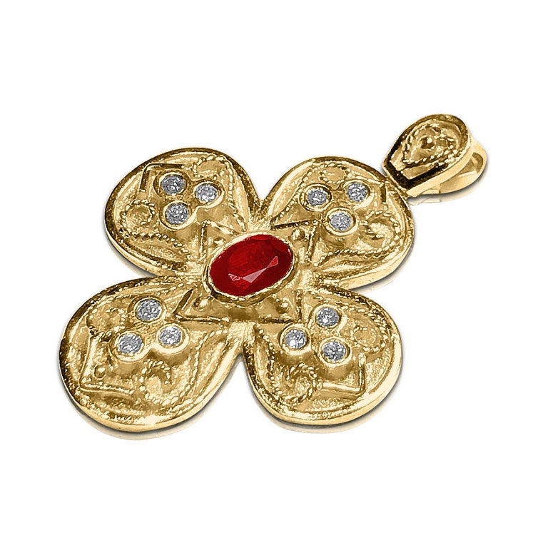 18 Karat Gold Ruby Cross with Diamonds and Granulation work
