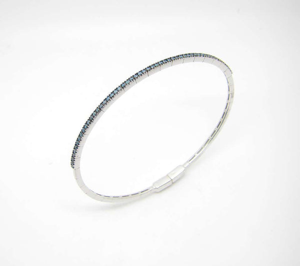 18 Karat White Gold and Blue Diamond Thin Bangle Bracelet