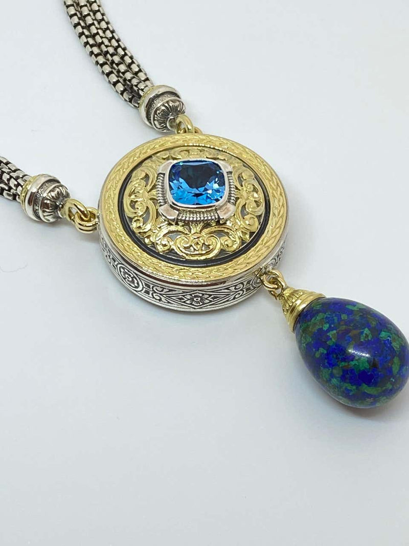 18 Karat Gold and Silver Topaz and Lapis Pendant Necklace