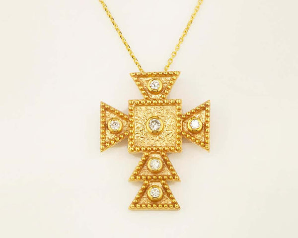 18 Karat Yellow Gold Diamond Square Small Cross and Chain