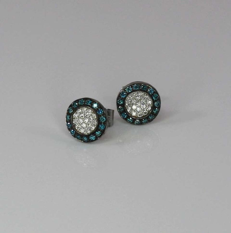 18 Karat White Gold Blue And White Diamond Stud Earrings