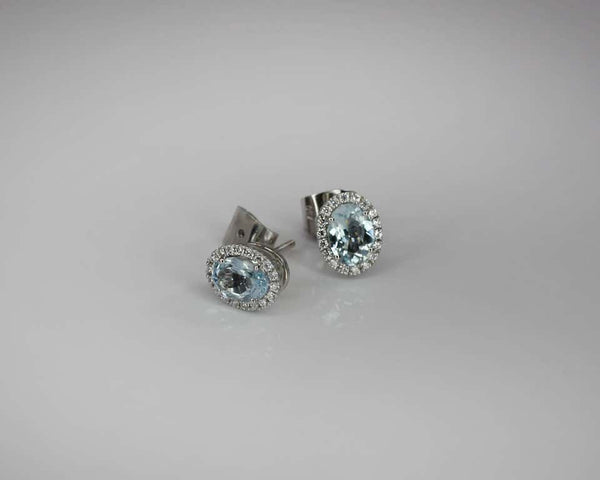 18 Karat White Gold Diamond and Aquamarine Stud Earrings