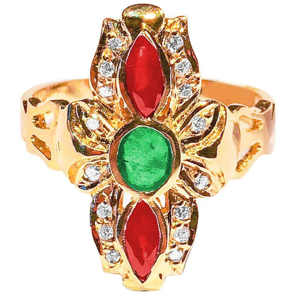 18 Karat Yellow Gold Byzantine Style Multicolor Gem Ring