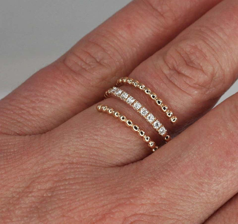 18 Karat Rose Gold Diamond Triple Bands Ring