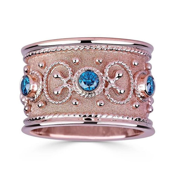18 Karat Rose Gold Diamond Ring Band in Byzantine Style