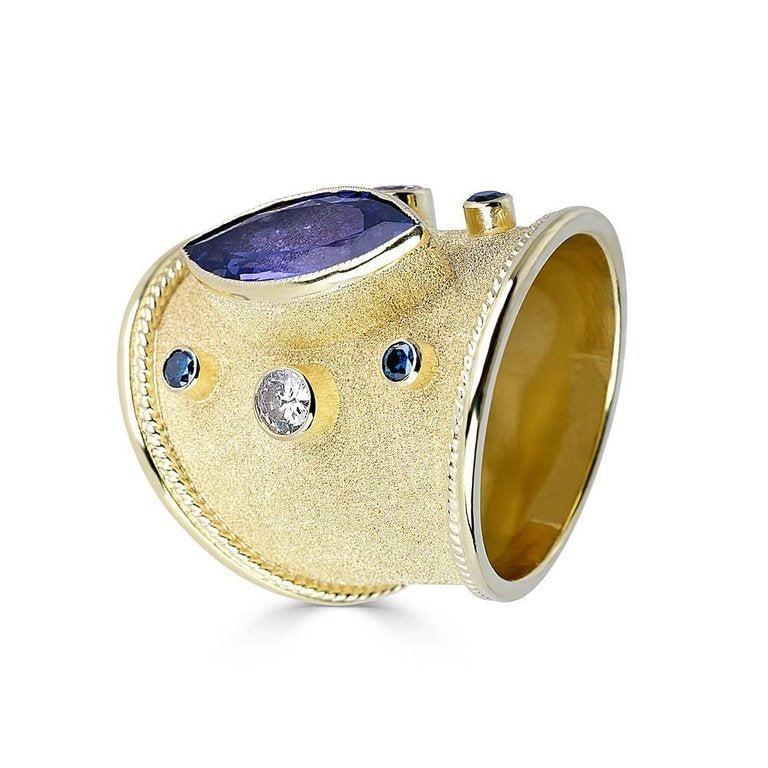 18 Karat Yellow Gold Byzantine Tanzanite and Diamond Ring