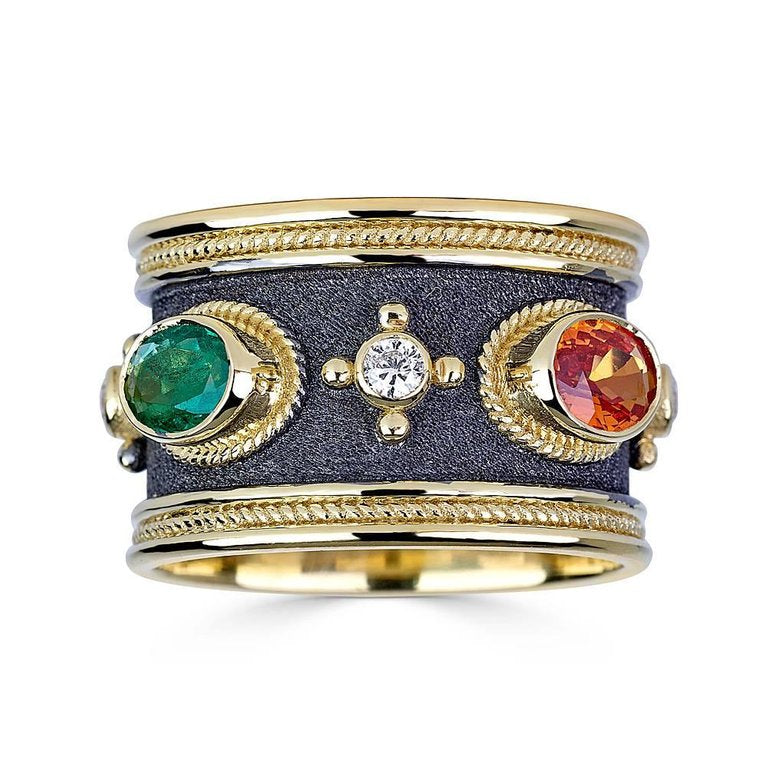 18 Karat Yellow Gold Diamond Sapphire and Emerald Band Ring