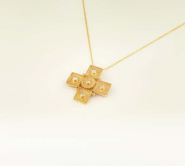 18 Karat Yellow Gold Diamond Geometric Cross Chain Necklace