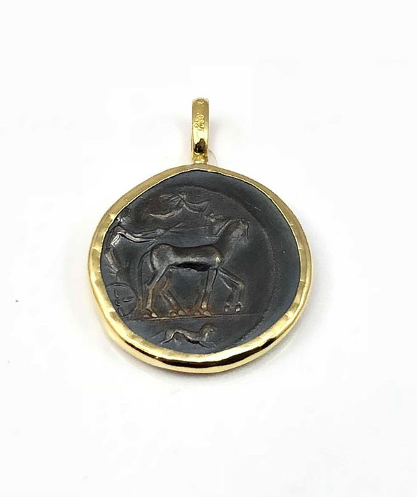 18 Karat Gold Pendant Necklace with a Silver Artemis Coin