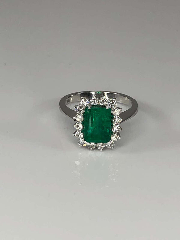 18 Karat White Gold Emerald and Diamond Rosette Ring