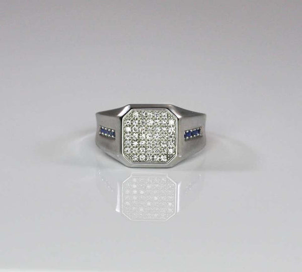 18 Karat White Gold Men's Diamond Sapphire Geometric Ring