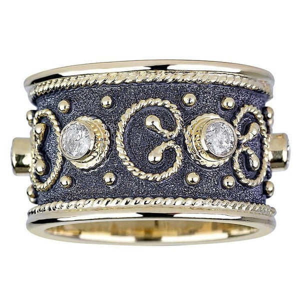 18 Karat Yellow Gold Diamond Band Rind with Black Rhodium