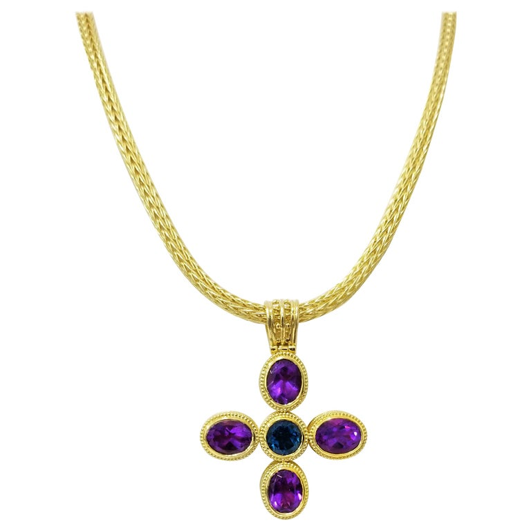 18 Karat Gold Reversible Diamond Cross with Amethyst Topaz