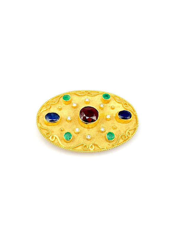 18 Karat Yellow Gold Ruby Emerald Sapphire Brooch Pendant