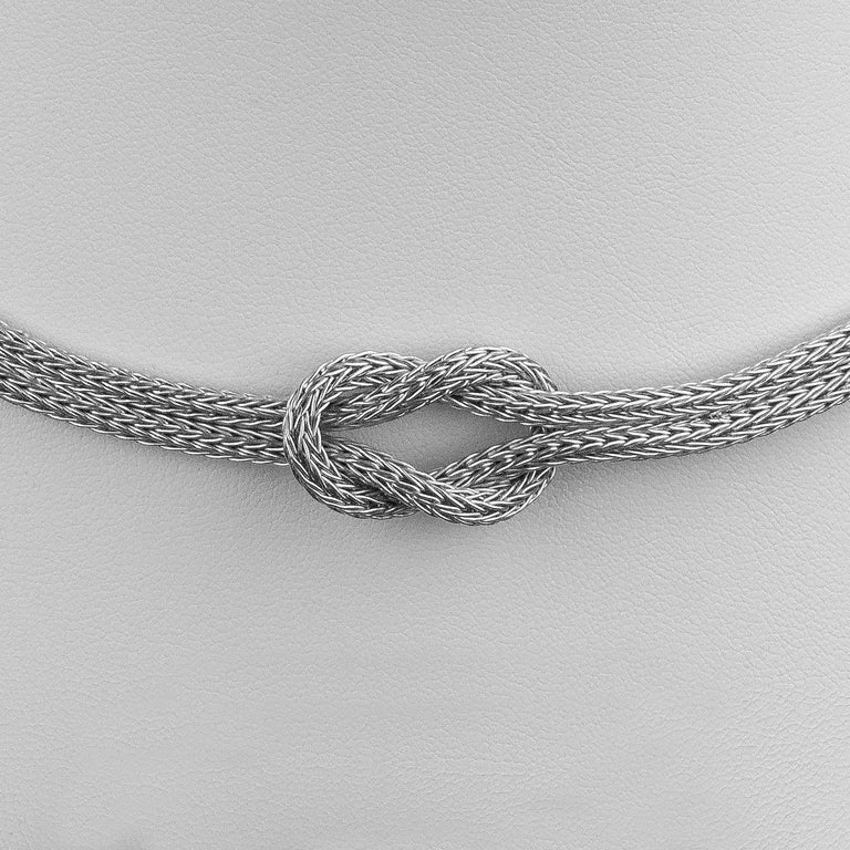 18 Karat White Gold Rope Necklace with Hercules Knot