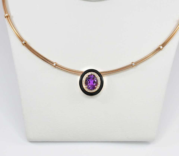 18 Karat Gold Amethyst Enamel and Diamond Pendant Necklace