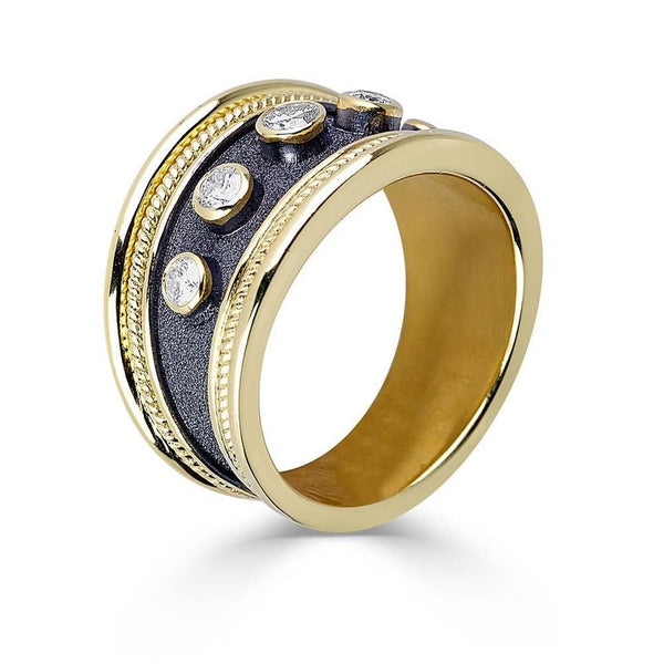 18 Karat Yellow Gold Diamond Band Ring in Byzantine Style