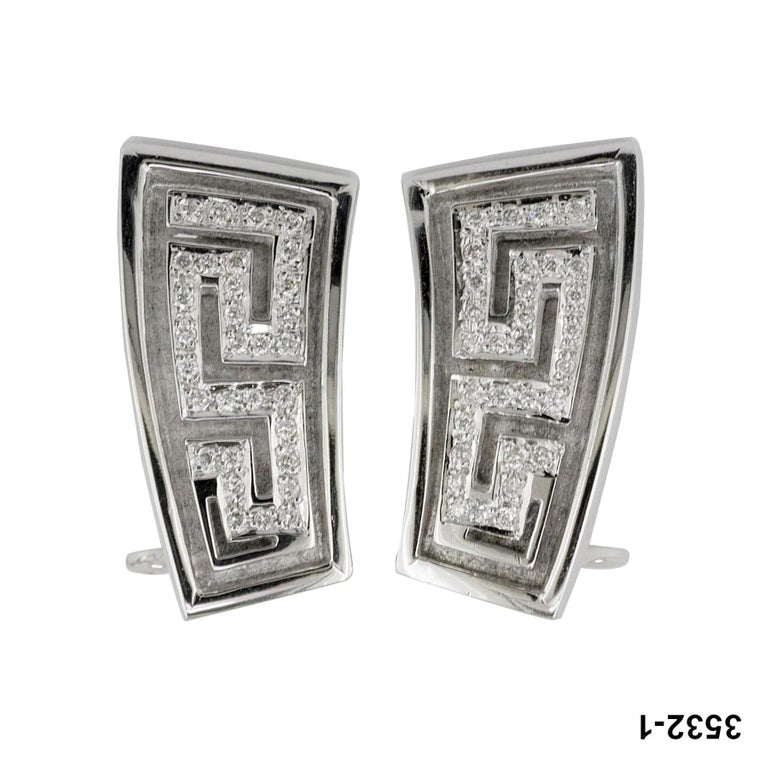 18 Karat White Gold Diamond Earrings the Greek Key Design