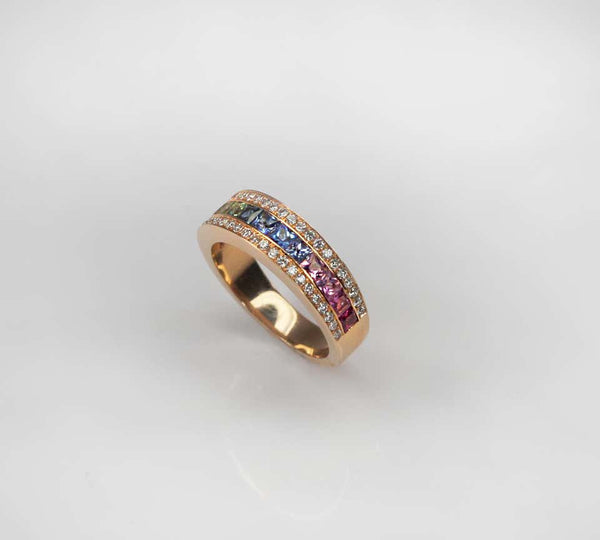 18 Karat Rose Gold Rainbow Sapphire and Diamond Band Ring