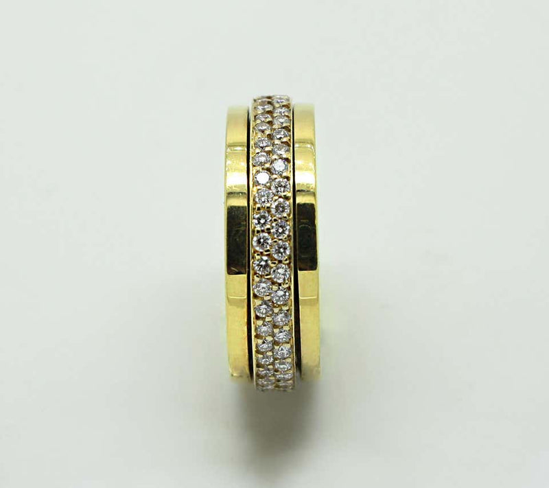 18 Karat Yellow Gold Eternity Spinning Diamond Band Ring