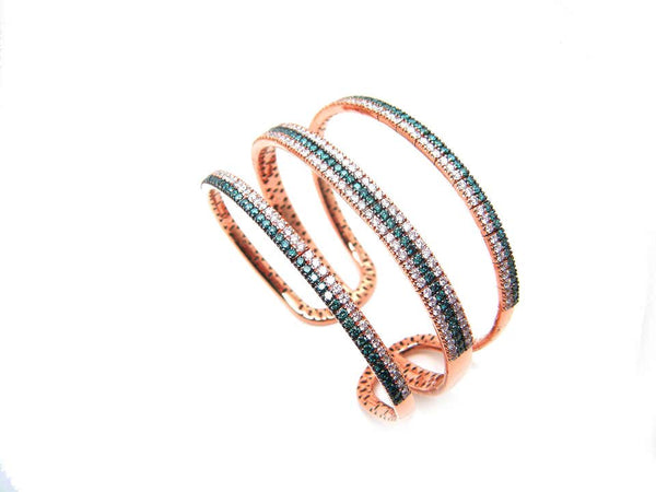 18 Karat Rose Gold White and Blue Diamond Wide Cuff Bracelet