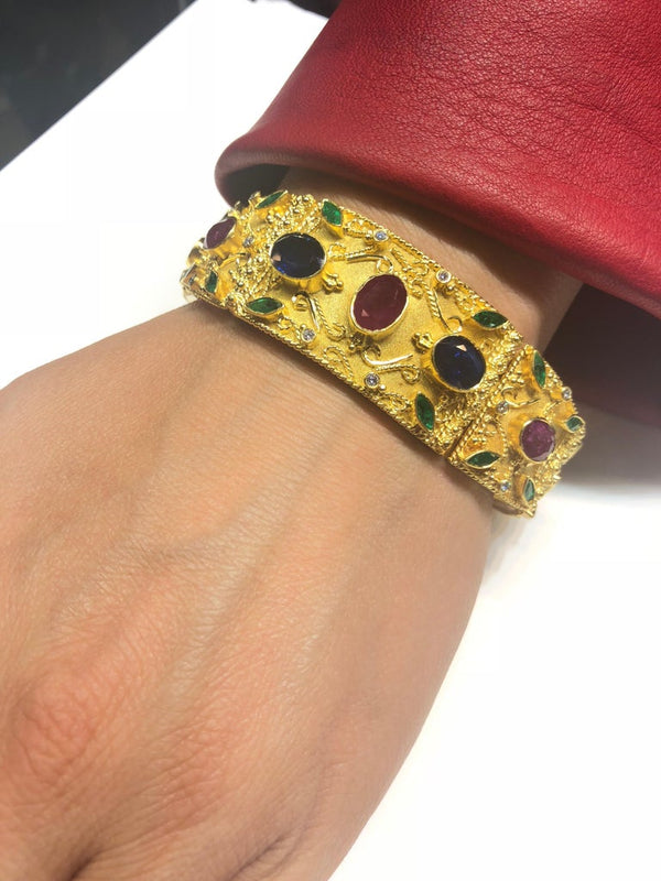 18 Karat Gold Ruby Emerald Sapphire Diamond Wide Bracelet
