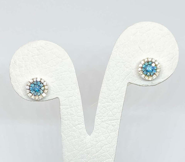 18 Karat Gold White and Blue Diamond Stud Earrings