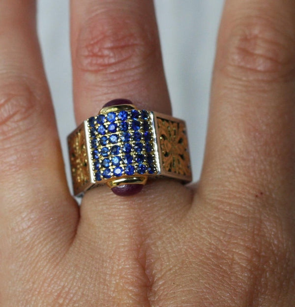18 Karat Gold and Silver Ring with Sapphire and Tourmalines