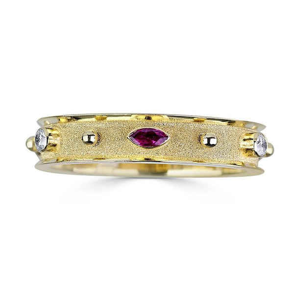 18 Karat Yellow Gold Diamond Ruby Emerald and Sapphire Ring