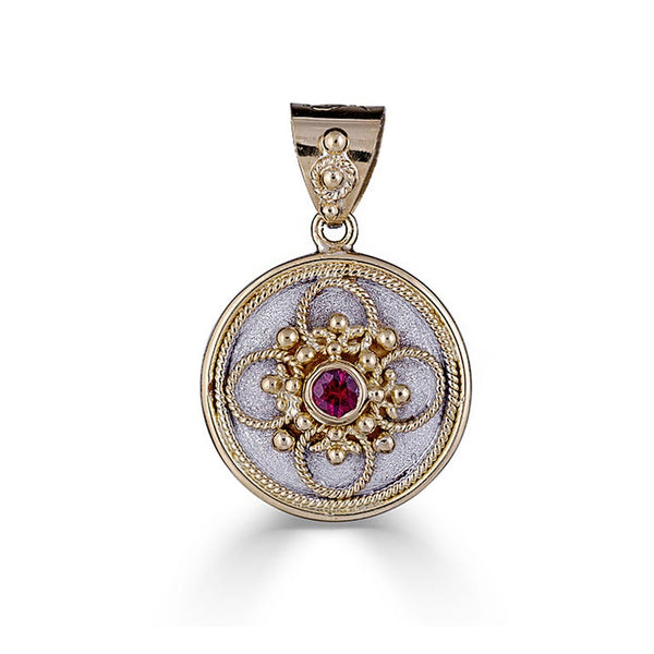 18 Karat Gold Ruby Pendant with Granulation and Rhodium