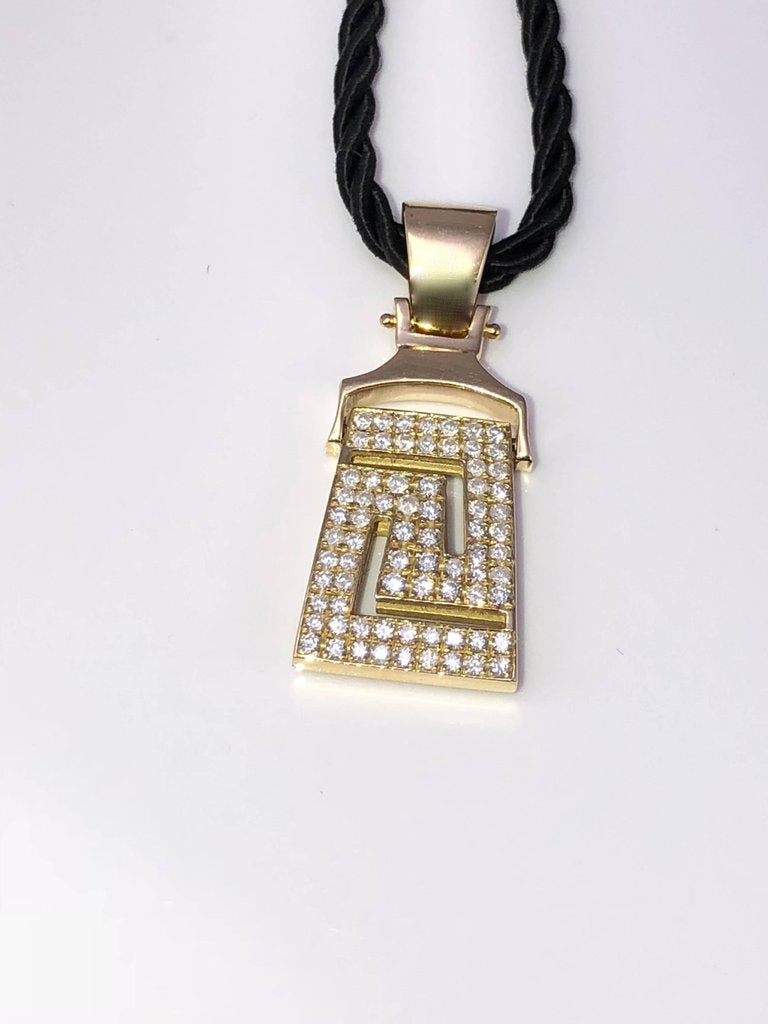 18 Karat Yellow Gold Diamonds Greek Key Pendant Necklace